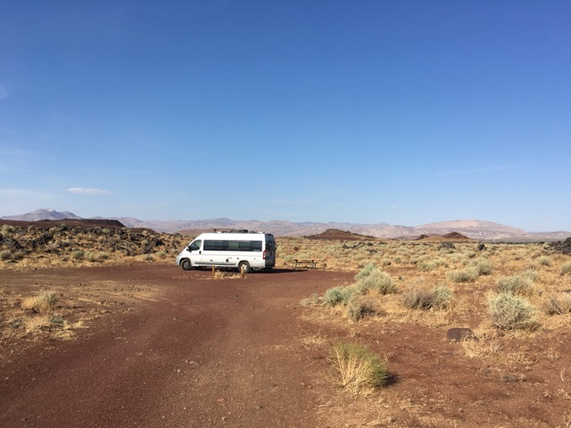 camper van against desert background