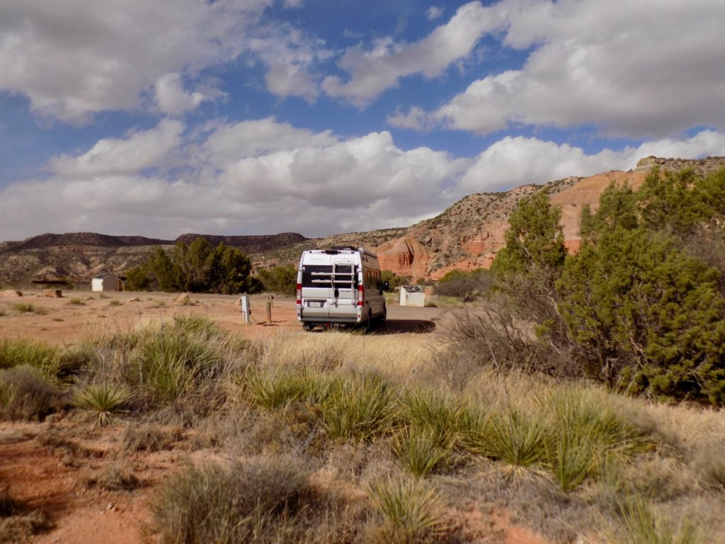 Serenity (the van) parked at Palo Duro Canyon State Park.